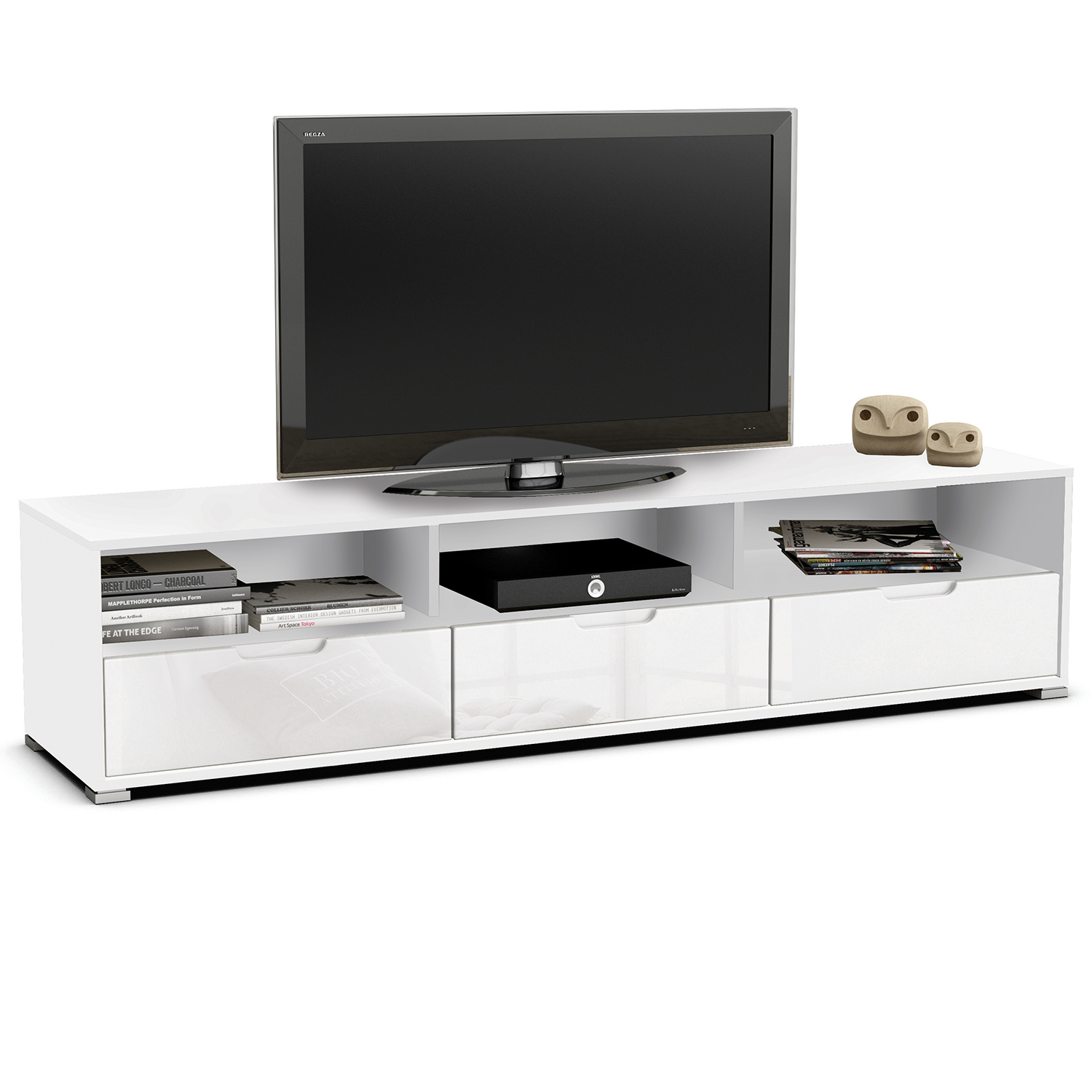 wohnwand fernsehtisch wei hochglanz tv schrank hifi regal lowboard media m bel ebay. Black Bedroom Furniture Sets. Home Design Ideas