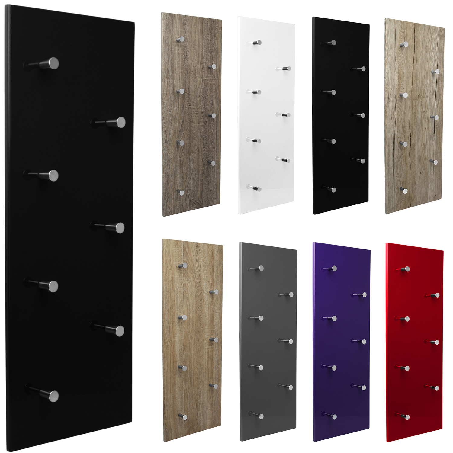 garderobe wandgarderobe wandpaneel flurgarderobe flur garderobenleiste 7 haken ebay. Black Bedroom Furniture Sets. Home Design Ideas
